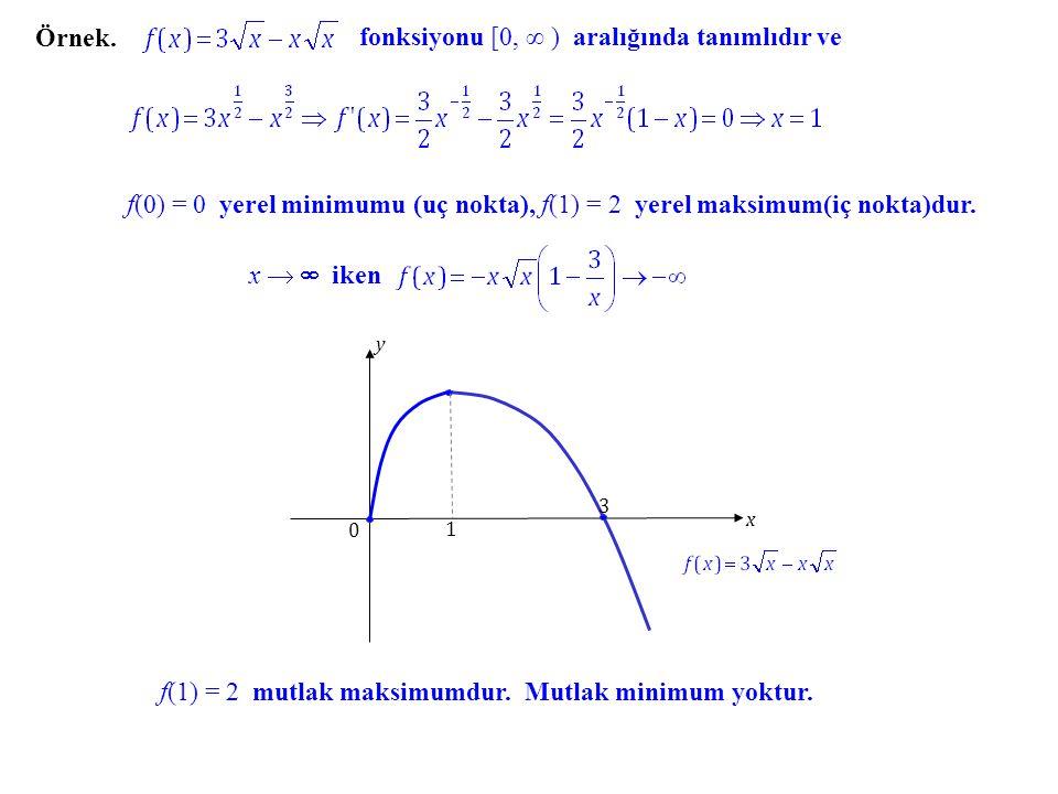 fonksiyonu [0, ∞ ) aralığında tanımlıdır ve
